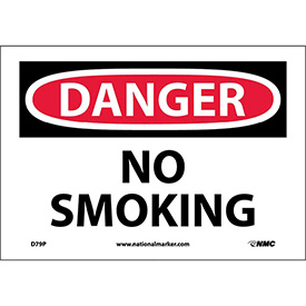 "Safety Signs - Danger No Smoking - Vinyl 7""H X 10""W"