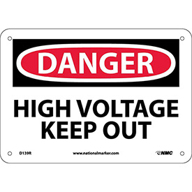 "Safety Signs - Danger High Voltage Keep Out - Rigid Plastic 7""H X 10""W"