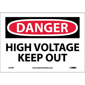 "Safety Signs - Danger High Voltage Keep Out - Vinyl 7""H X 10""W"