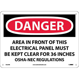 """Safety Signs - Danger Area - Rigid Plastic 10""""H X 14""""W"""