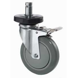 "Nexel® Stainless Steel Stem Casters - Set of (4) 5"" Polyurethane, (2) with Brakes 1200 Lb. Cap."
