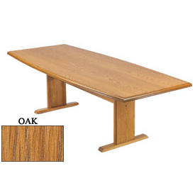 Conference Table 120 Inch Boat Shaped Oak Finish