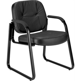 Extra Thick Cushioned Classic Leather Side Chair - Black