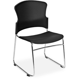 OFM Stacking Chair - Plastic - Mid Back - Black - Pkg Qty 4