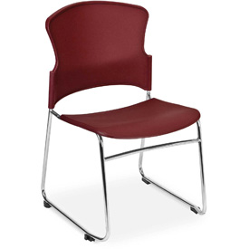 OFM Multi-Use Stack Chair with Plastic Seat and Back, Wine