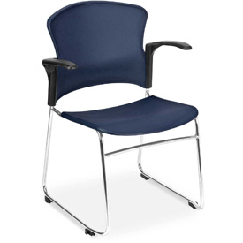 OFM Stacking Chair with Arms - Plastic - Mid Back - Burgundy - Pkg Qty 4