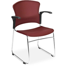 OFM Stacking Chair with Arms - Plastic - Mid Back - Blue - Pkg Qty 4