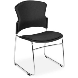 OFM Stacking Chair - Fabric - Mid Back - Black - Pkg Qty 4