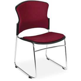 OFM Stacking Chair - Fabric - Mid Back - Burgundy - Pkg Qty 4