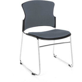 OFM Stacking Chair - Fabric - Mid Back - Gray - Pkg Qty 4