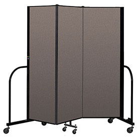 "Screenflex Portable Room Divider 3 Panel, 6'H x 5'9""L, Fabric Color: Oatmeal"