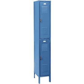 Penco 6235V-1-806SU Vanguard Locker Pull Latch Double Tier 12x18x36 2 Doors Assembled Marine Blue
