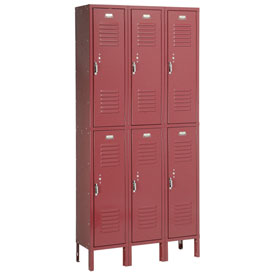 Penco 6233V-3-736SU Vanguard Locker Pull Latch Double Tier 12x15x36 6 Doors Assembled Burgundy