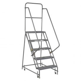 "Grip 24""W 5 Step Steel Rolling Ladder 10""D Top Step"