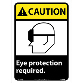 """Graphic Signs Caution Eye Protection Required Vinyl 10""""W X 14""""H by"""