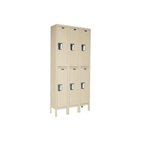 Hallowell UY3258-2A- Maintenance-Free Quiet Locker Double Tier 12x15x36 6 Door Assembled Parchment