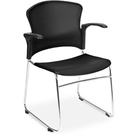 OFM Stacking Chair with Arms - Plastic - Mid Back - Gray - Pkg Qty 4