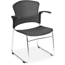 OFM Multi-Use Stack Chair with Arms, Plastic Seat and Back, Gray