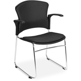 OFM Stacking Chair with Arms - Fabric - Mid Back - Black - Pkg Qty 4