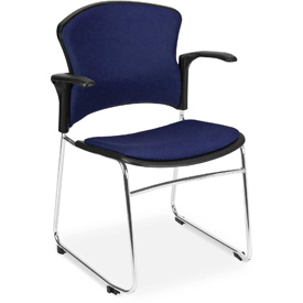 OFM Stacking Chair with Arms - Fabric - Mid Back - Blue - Pkg Qty 4