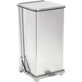 Rubbermaid® QST24RB Defenders® Fire Safe Silent Step On Stainless Steel Trash Can, 24 Gal.