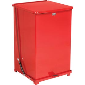Rubbermaid® QST40ERB Defenders® Fire Safe Silent Step On Metal Trash Can, 40 Gallon, Red