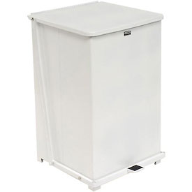 Rubbermaid® ST40ERB Defenders® Fire Safe Step On Metal Trash Cans, 40 Gallon, White