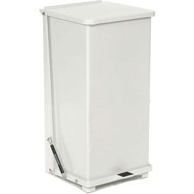 Rubbermaid® QST24ERB Defenders® Fire Safe Silent Step On Metal Trash Can, 24 Gallon, White