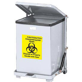 Rubbermaid® QST40ERB Defenders® Fire Safe Silent Step On Metal Trash Can, 40 Gallon, White