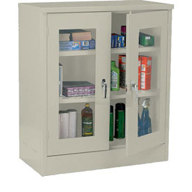 Sandusky Clear View Counter Height Storage Cabinet EA2V461842 - 46x18x42, Putty