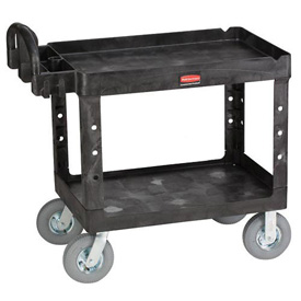 "Rubbermaid® 4520-10 Tray Shelf Plastic Service Cart 44x25 8"" Casters"
