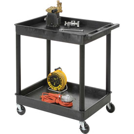 "Luxor® STC11 Tray Top Shelf 2 Shelf Plastic Utility Cart 24x18 4"" Casters"