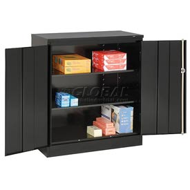 Tennsco Counter High Metal Storage Cabinet 1442 03 - 36x18x42 Black