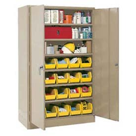"""Locking Storage Cabinet 48""""W X 24""""D X 78""""H With 24 Yellow Stacking Bins and 6 Shelves Assembled"""