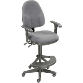 Work Stool With Arms - Fabric - 180° Footrest - Gray