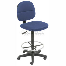 Drafting Stool - Fabric - 360° Footrest - Blue
