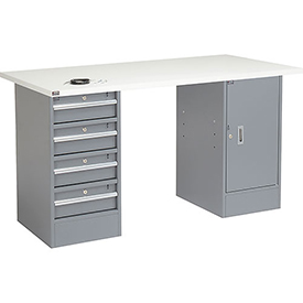 "60"" W x 30"" D Pedestal Workbench W/ 4 Drawers & Cabinet, ESD Square Edge - Gray"