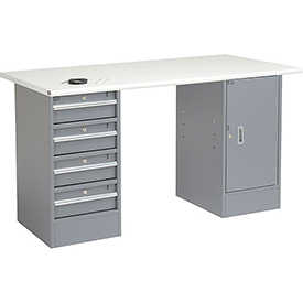 "72"" W x 30"" D Pedestal Workbench W/4 Drawers & Cabinet, ESD Safety Edge - Gray"
