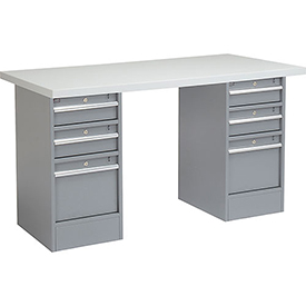 "60"" W x 30"" D Pedestal Workbench W/ 6 Drawers, Plastic Laminate Square Edge - Gray"