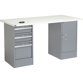 """72"""" W x 30"""" D Pedestal Workbench W/ 3 Drawers & Cabinet, ESD Square Edge - Gray"""