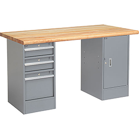 "60"" W x 30"" D Pedestal Workbench W/ 3 Drawers & Cabinet, Maple Butcher Block Safety Edge - Gray"