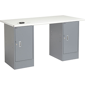 "60"" W x 30"" D Pedestal Workbench W/ 2 Cabinets, ESD Safety Edge - Gray"