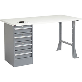 "60"" W x 30"" D Pedestal Workbench W/ 4 Drawers, ESD Square Edge - Gray"