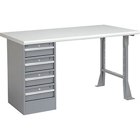 "60"" W x 30"" D Pedestal Workbench W/ 4 Drawers, Plastic Laminate Safety Edge - Gray"