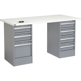 "60"" W x 30"" D Pedestal Workbench W/ 7 Drawers, ESD Square Edge - Gray"