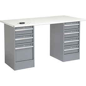 "72"" W x 30"" D Pedestal Workbench W/ 7 Drawers, ESD Safety Edge - Gray"