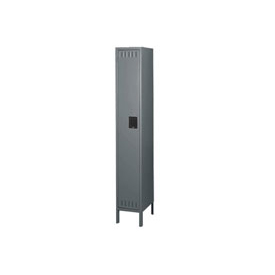 Tennsco Steel Locker STK-121272-1 02 - Single Tier w/Legs 1 Wide 12x12x72 Unassembled, Medium Grey