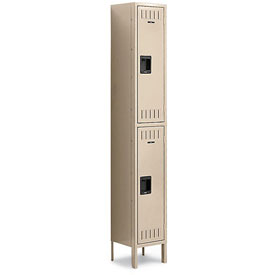 Tennsco Steel Locker DTK-121236-1 214 Double Tier w/Legs 1 Wide 12x12x36 Unassembled, Sand