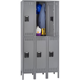 Tennsco Steel Locker DTS-121236-3 02 - Double Tier With Legs 3 Wide 12x12x36 Assembled, Medium Grey