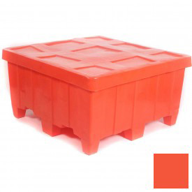 "Myton Forkliftable Bulk Shipping Container MTG-2 with Lid - 44""L x 44""W x 23""H, Orange"